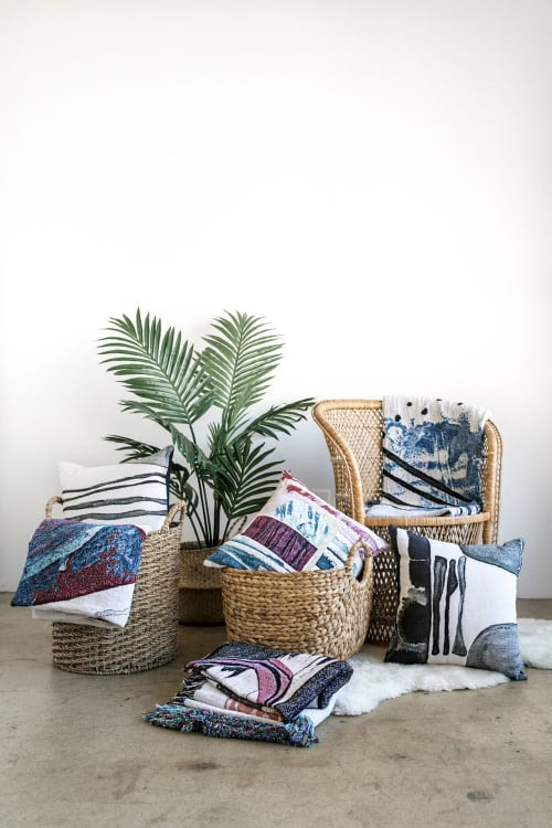 "Linens & Bedding by K'era Morgan seen at Creator's Studio, Los Angeles - ""Marea"" Throw Blanket"