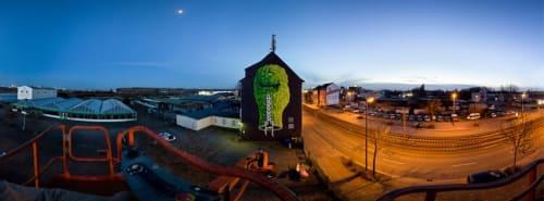 Street Murals by Mark Gmehling seen at WAM The Media Academy Koestel & Co. KG, Dortmund - Spirit (Green)-Mural
