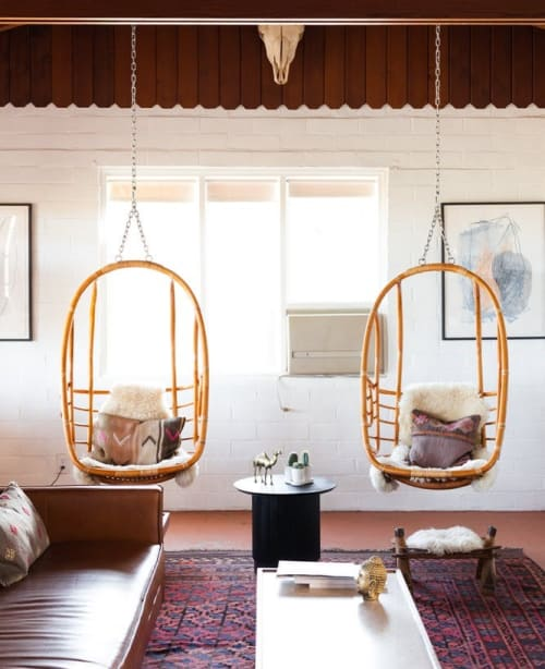 Chairs by Serena & Lily at The Joshua Tree House, Joshua Tree - Hanging Rattan Chair