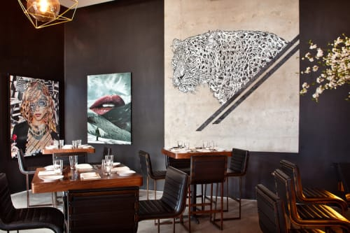 Paintings by Doww seen at STK Miami, Miami - Leopard Stencil