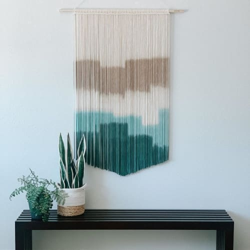 Macrame Wall Hanging by Love & Fiber seen at Rush Creek Lodge at Yosemite, Groveland - Large Teal Macrame Wall Hanging & Fiber Art