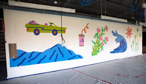 Murals by Sidney Howard seen at Facebook Building 250, Mountain View - Facebook Mural