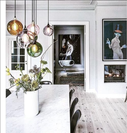 Pendants by Marie Burgos Design seen at Private Residence, New York - Ballroom Pendant Lights in Rose, Army Green, Amber, Purple Rain and Smoke