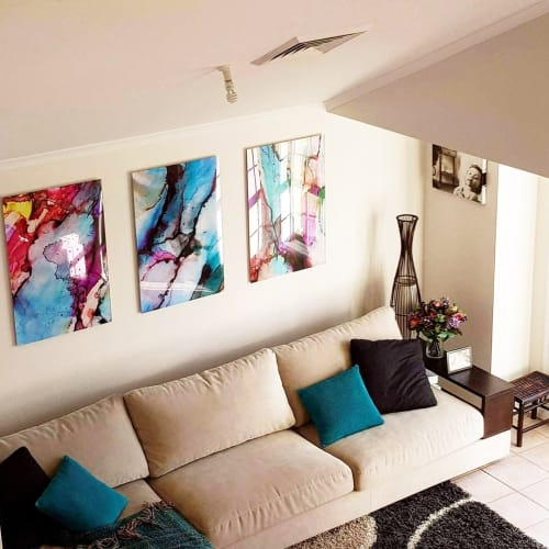 Paintings by Celeste Wrona seen at Private Residence, Sydney - Exhale II, Exhale V, Exhale X