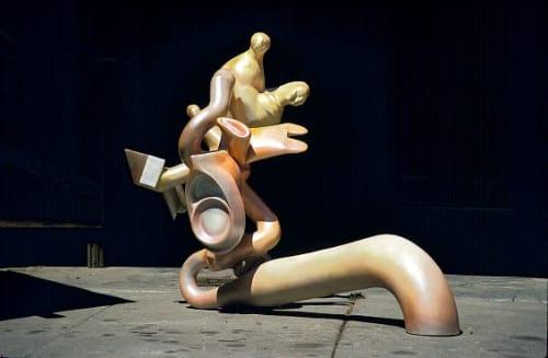 "Sculptures by Joseph Slusky seen at Peerless Lighting, Oakland - ""Two Feet Apart,"" 1968"