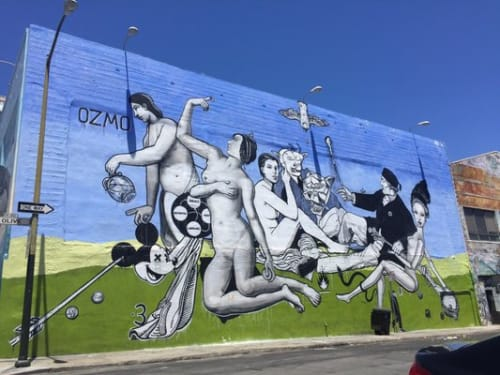 Street Murals by Ozmo seen at Mitchell Brothers O'Farrell Theatre, San Francisco - Dejuner sur l'herbe