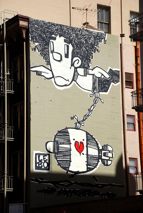 Street Murals by David LeBatard (Lebo) seen at 447 Bush Street, Financial District, San Francisco - Flying Afro