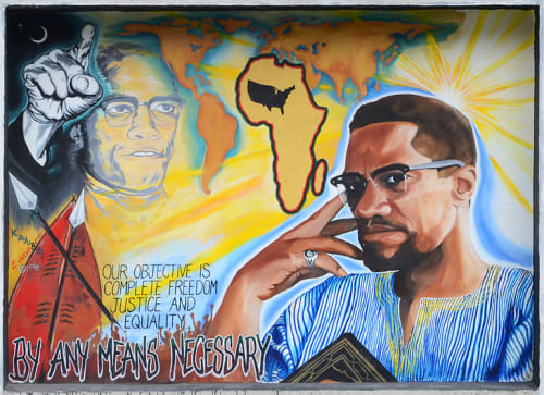 Murals by Eric Norberg seen at Cesar Chavez Student Center, San Francisco - Malcolm X Mural