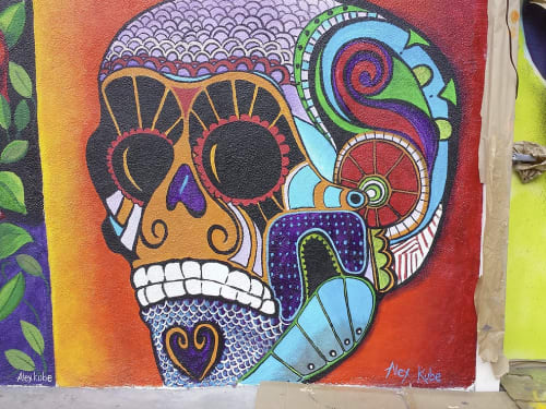 Murals by Alexandra Kube at Mercado Hollywood, Los Angeles - Vivid Skull