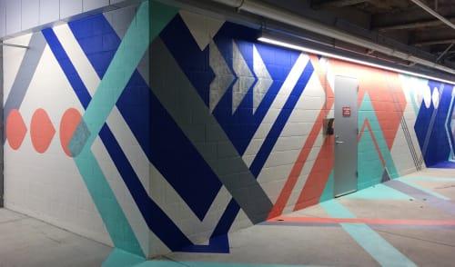 Murals by LAMKAT seen at Facebook HQ, Menlo Park - FB Air Program Mural
