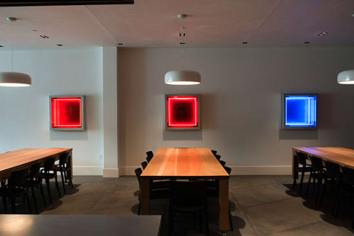 Art & Wall Decor by Ivan Navarro seen at HALL Wines, Saint Helena - Delay, Remain, Surrender, Try, and Witness