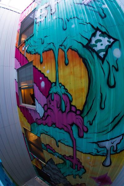 Murals by Buff Monster seen at Hotel Zetta, San Francisco - Mural Stairwell Street Art