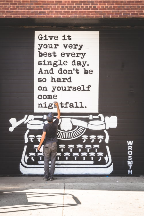 Murals by WRDSMTH seen at Lacuna Lofts Chicago Illinois, Chicago - Nightfall