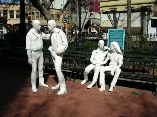 Public Sculptures by George Segal seen at Christopher Street, New York - Gay Liberation