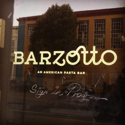 Signage by Gentleman Scholar Signs at Barzotto, San Francisco - Gold Leaf Sign