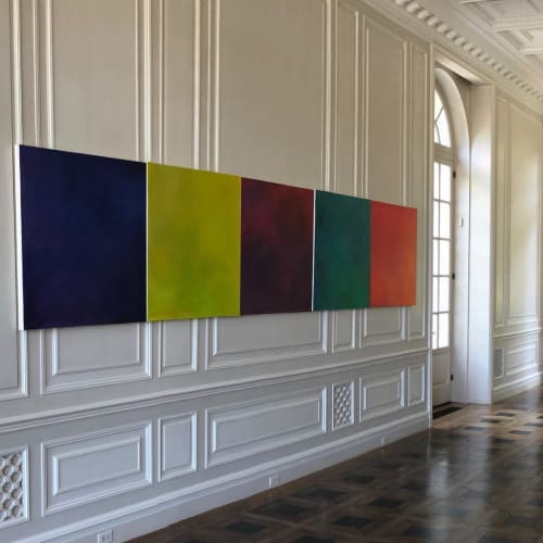 Paintings by Julie Shunick Brown seen at Crespi-Hicks Estate, Dallas - Courtyard series