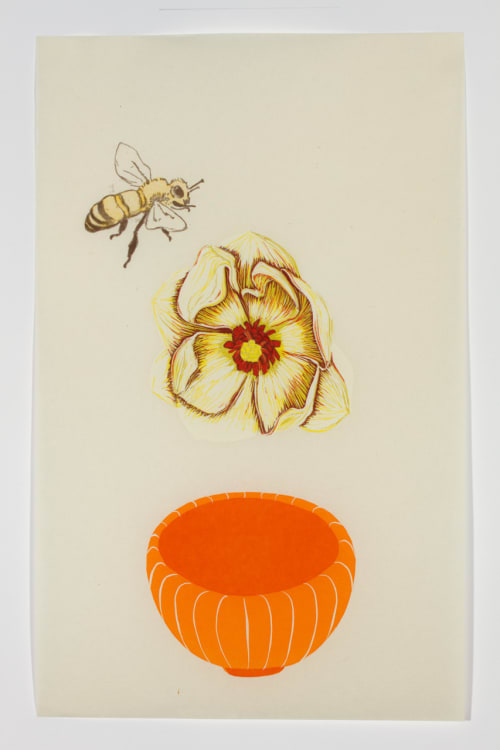 Paintings by Diane Jacobs seen at Zuckerberg San Francisco General Hospital and Trauma Center, San Francisco - Bee, Magnolia, Bowl