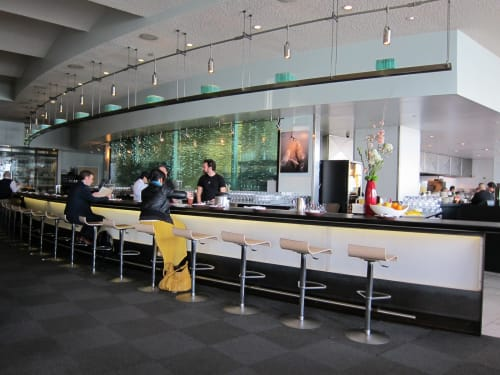 Interior Design by Lundberg Design seen at Slanted Door, San Francisco - Stacked Glass Wall