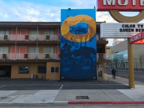 "Murals by Erik Burke seen at Horse Shoe Motel, Reno - ""Walk Before Ya Run"""