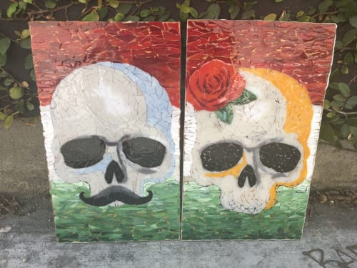 Public Mosaics by Jonathan Cohen at Mercado Los Angeles, Los Angeles - Skull Mosaic - Men's Room