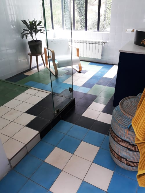 Tiles by Renee Rossouw Studio seen at Private Residence, Cape Town - Tetris Bathroom Blue Black Green
