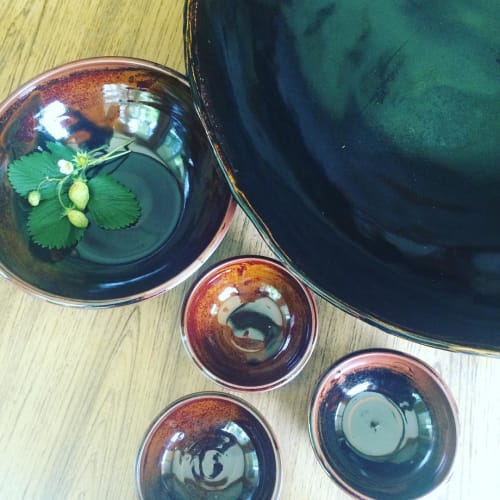 Ceramic Plates by Crazy Green Studios seen at Budy Finch, Flat Rock - Large Service Platter with Side Dish Bowl