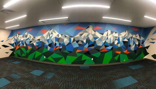 Murals by Josh Scheuerman seen at Private Residence, Salt Lake City - Geometric Mural