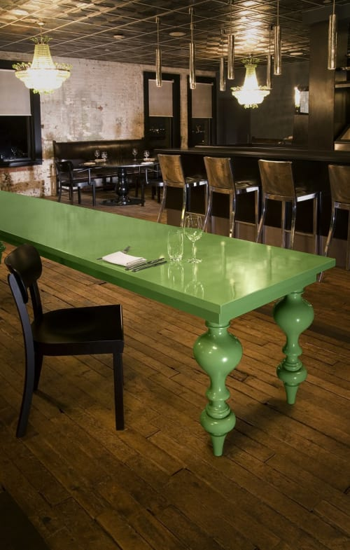 Tables by Amuneal seen at Soho House New York, New York - Green Lacquer Feature Table