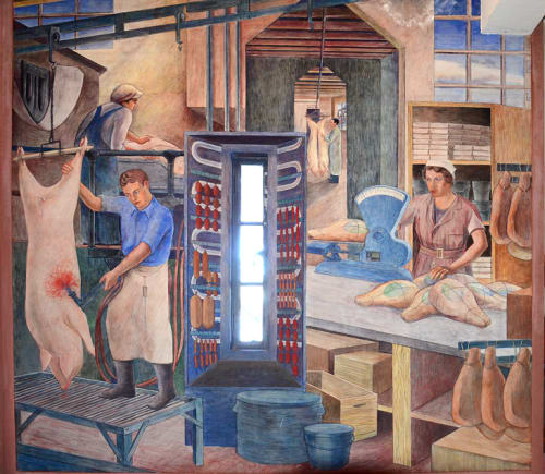 Murals by Ray Bertrand seen at Coit Tower, San Francisco - Meat Industry