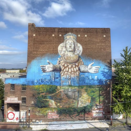 Street Murals by Gaia seen at Kingston, NY, Kingston - Artemis Emerging from the Quarry