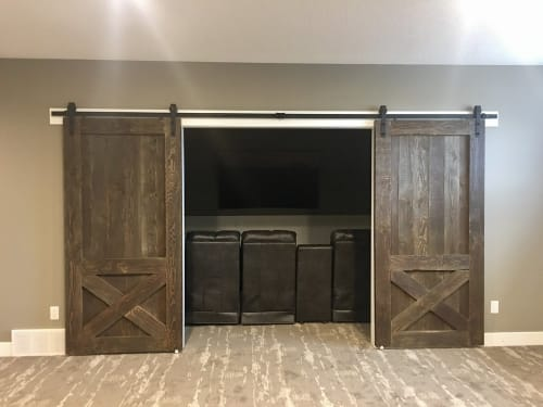 Furniture by Cask Woodworking seen at Private Residence, Sherwood Park - Douglas Fir Double Barn Door