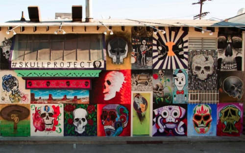 Murals by Val Vega seen at Mercado Hollywood, Los Angeles - Blue Flower Skull Mural