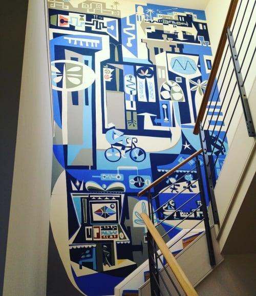 Murals by Brian Barneclo seen at Private Residence, San Francisco - Interior Mural