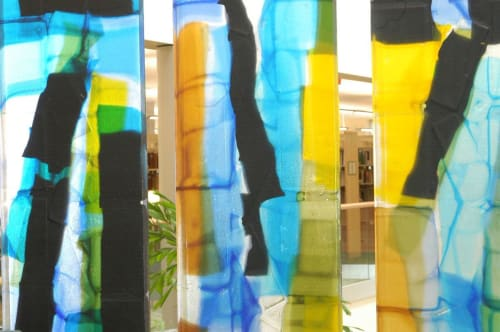 """Sculptures by Walter Gordinier seen at Pacific University, College Way, Forest Grove, Oregon, Forest Grove - """"Transitions Transformations"""""""