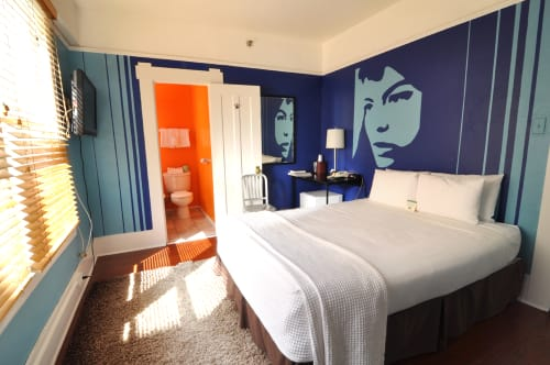 "Murals by Felicia DeRosa seen at Hotel Des Arts, San Francisco - The ""Bianca Jagger"" Room"