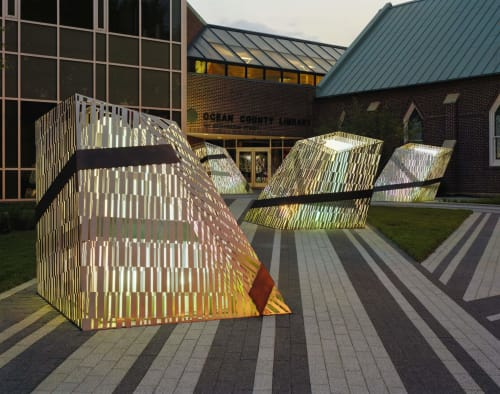 Public Sculptures by Amuneal seen at The Ocean County Library, Toms River - Barcode Luminescence