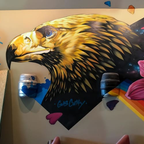 Murals by Gus Cutty seen at Sauced - Pizza, Tacos, Taps, Waynesville - Mural