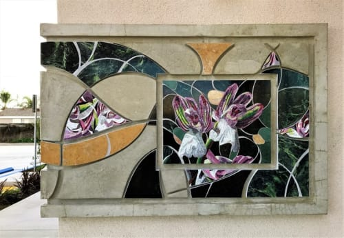 Public Mosaics by Carole Choucair Oueijan seen at Alondra Pitts Shopping Center, Bellflower - Orchis Morio Libani