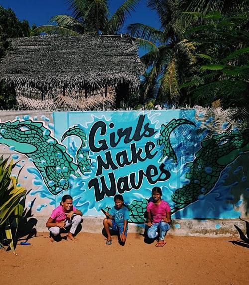 Murals by Frankie Strand seen at Arugam Bay, Arugam Bay - Girls Make Waves Mural