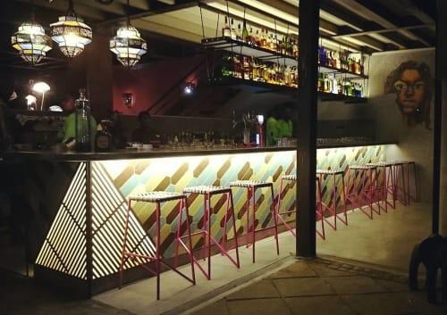Tiles by Photoblox seen at moyo Melrose Arch, Johannesburg - Wooden Wall Tiles