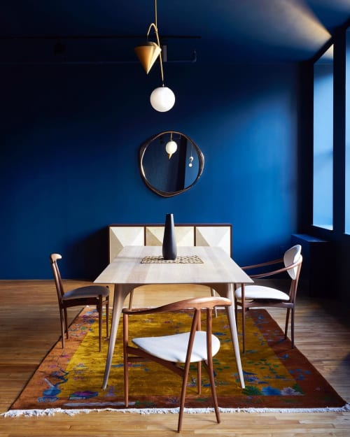 Tables by Konekt seen at Konekt NYC Showroom, New York - Gazelle Dining Table and Bianca Chairs