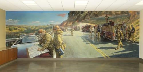 Murals by Garin Baker seen at Los Angeles County Fire Station 150, Santa Clarita - Fire Break