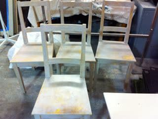 Chairs by Lisa Carroll seen at Bun Mee (Filmore Location), San Francisco - Distressed Chair