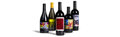 Paintings by Ryan Weston Shook aka Saber seen at 1849 Wine Co., Vernon - Artistic Wine Bottle