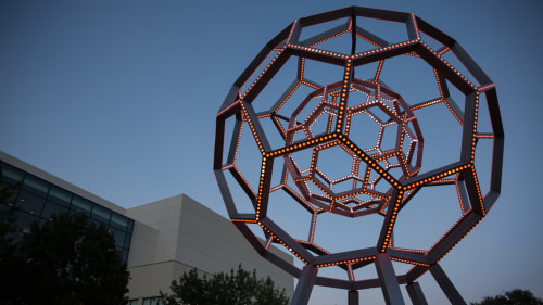 Sculptures by Leo Villareal seen at NorthPark Center, Dallas - Buckyball