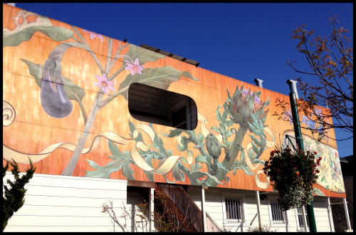 Murals by Mona Caron seen at Noe Valley Famers Market - Noe Valley Mural- East Wall