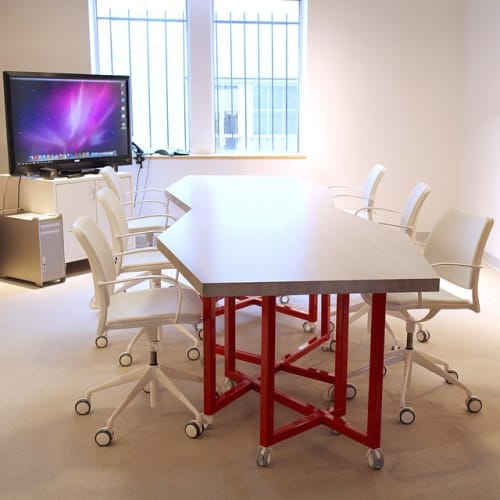 Tables by Alex Drew & No One at Birmingham, Birmingham - Custom Hexagonal Solid Ash Conference Table