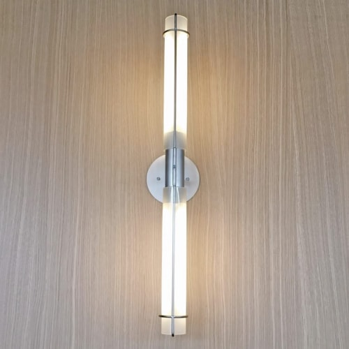 Sconces by Simon Johns seen at Brasserie T! Quartier DIX30, Brossard - Nickel and Glass Sconces