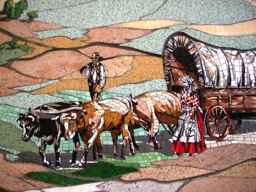 Public Mosaics by Carole Choucair Oueijan seen at City of Temecula Civic Center, Temecula - The Emigrant Trail