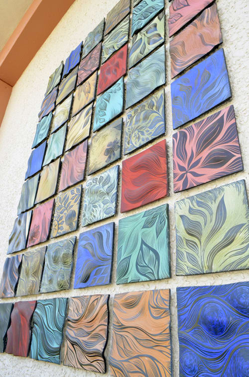 Murals by Natalie Blake Studios at Chabot College, Hayward - Fine Arts Court Quilt